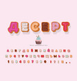 dessert cyrillic decorative font cartoon sweet vector image vector image