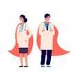 doctor superhero medical team doctors wear red vector image vector image