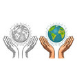 earth planet in open female human palms vector image vector image