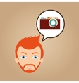face man bearded hipster photographic camera vector image vector image