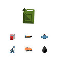 flat icon fuel set of droplet boat rig and other vector image vector image