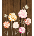 flowers on wooden background vector image vector image
