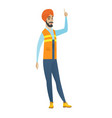 hindu builder with open mouth pointing finger up vector image vector image