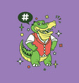 hipster gator cartoon t shirt design vector image
