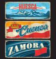 huesca cuenca zamora province spain plates vector image vector image