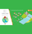 isometric hydroelectricity concept vector image
