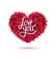 Love You Message on Red Flowers Forming Heart vector image vector image