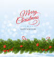 Merry Christmas card with a ribbon and christmas vector image vector image