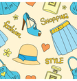 Pattern with hats perfume footwear skirt handbags vector image