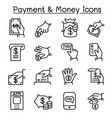 payment money icon set in thin line style vector image