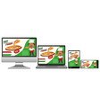 pizza promotion on electronic devices vector image vector image