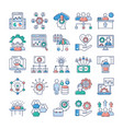 project management teamwork flat icons set vector image vector image