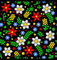 seamless floral pattern on black background vector image vector image