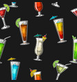seamless pattern alcohol cocktail set vintage vector image vector image