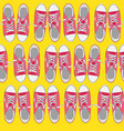 seamless pattern with shoes on color background vector image vector image