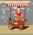 seller street food cart delicious juicy burger vector image vector image