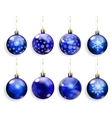 Set of blue Christmas balls vector image vector image