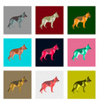 set of in flat style german shepherd vector image
