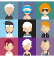set people avatars with backgrounds vector image vector image