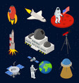space signs 3d icons set isometric view vector image vector image