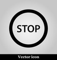 Stop icon internet button on grey background vector image