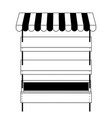 supermarket shelves empty with three levels and vector image vector image