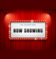 theater sign on curtain vector image vector image