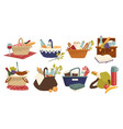 wicker baskets with food and drinks picnic vector image