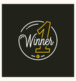 winner place logo round linear winner number vector image vector image
