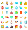 work internet icons set cartoon style vector image vector image