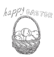 Basket of Easter eggs outline Hand drawn letters vector image