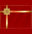 gold ribbon with gold bow on red background vector image