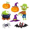 halloween set - witch hat caldron pumpkin vector image