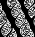 Lace seamless pattern with white leaves on black vector image