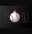 2021 happy new year sports greeting card with a vector image