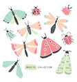 big colorful hand drawn doodle set - insects bugs vector image vector image