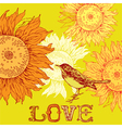 bird and sunflowers vector image vector image