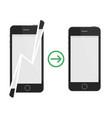 broken and repaired smartphone vector image