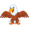 cartoon bald eagle with wings extended vector image
