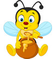 cartoon bee with honey pot vector image vector image