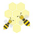cartoon bees on honeycells vector image