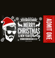 christmas and new year party ticket invitation vector image vector image