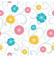 Colorful Flowers on Swirly Braches Seamless