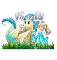 Dragon and princess vector image vector image