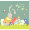 easter bunny and easter egg vector image
