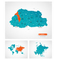 editable template map bhutan with marks vector image vector image