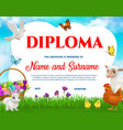 education school diploma easter animals vector image vector image