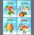 elves and christmas gifts xmas greeting cards vector image vector image