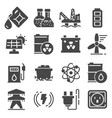 energy related gray icons power icon set vector image vector image