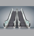 escalator with clear glass vector image